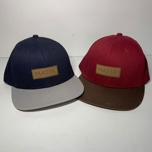 Lot Of 2 Matix Snapback Hats red/blue one size